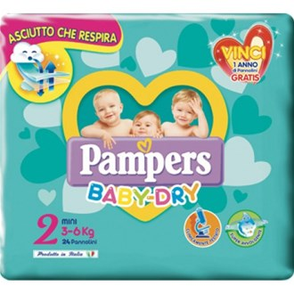 Pampers Baby Dry 2 Mini, 24 Pannolini (3-6 kg)